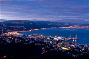 Wellington dusk July, looking north to the Hutt Valley